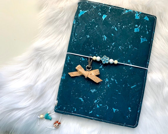 Charming A5 cork notebook, teal with metallic flecks, coordinating woodland themed fabric, slip pockets, zipper pocket. Inserts included!