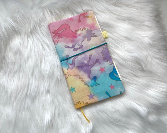 Handmade pastel kawaii unicorn print cover with yellow accents for your favorite weekly planner :-)