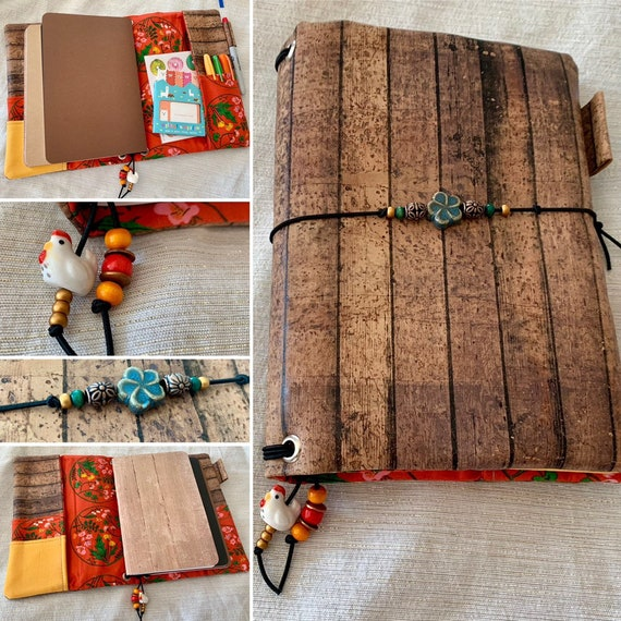 Refillable A5 cork notebook, rustic barn wood print with whimsical floral print accents and pockets.  Inserts included!