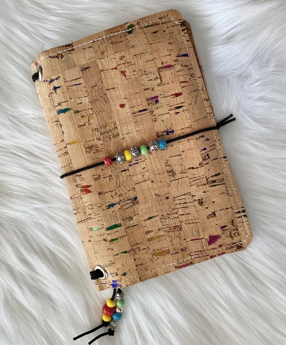 Field notes size natural cork TN traveler's notebook with rainbow foil flecks and colorful beads! Lovely moon phase design, Inserts included