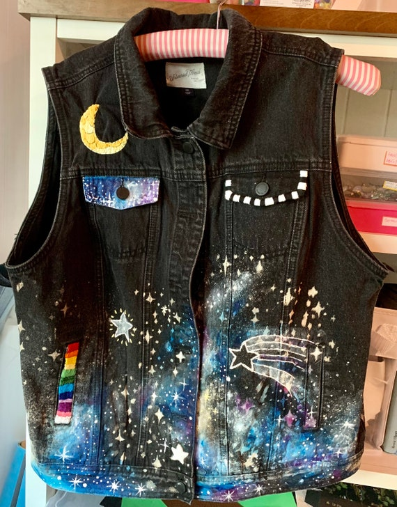 Mesmerizing galaxy moon and stars  design painted and hand embroidered on upcycled black denim vest.  OOAK, original artwork, Women's XXL