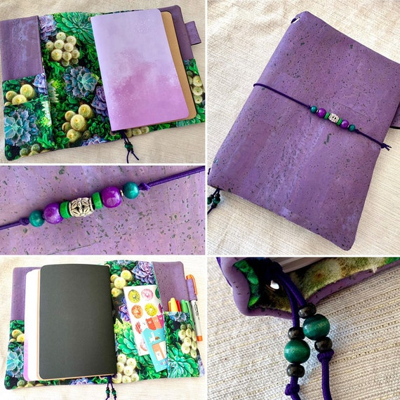 Refillable A5 cork notebook, purple color with fun succulent print fabric accents and pockets.  Inserts included!
