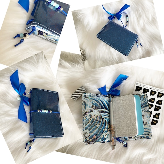 Miniature traveler's notebook in blue glitter marine vinyl, handmade charm and inserts included!