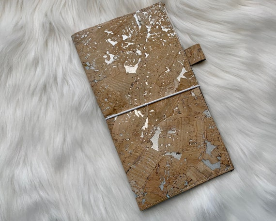 Handmade natural cork cover with metallic silver flecks for your favorite weekly planner :-)