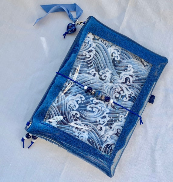 Sparkling blue vinyl pin window display notebook cover with waves. Super shiny!  A5 size. Handmade inserts and hanging charm included
