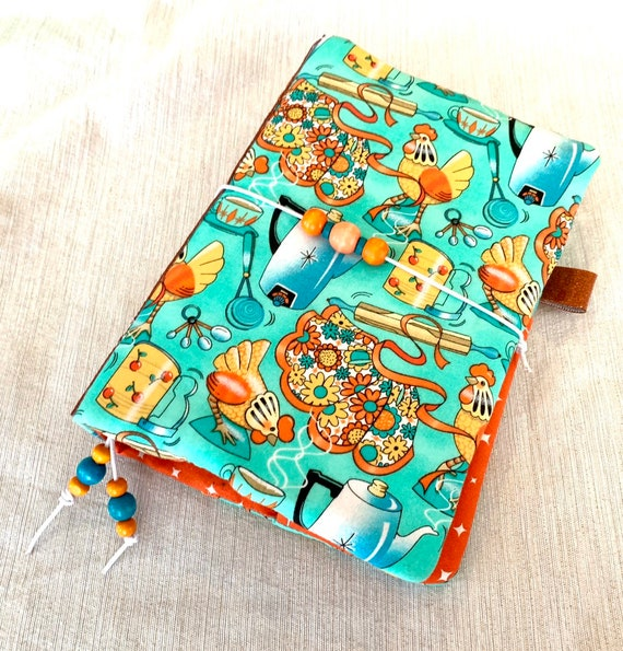 Retro kitchen themed refillable A5 size notebook with orange accents and matching glitter vinyl spine!  Lots of retro charm!