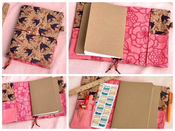 Refillable A5 cork notebook, natural cork with bird print and  with charming floral print fabric accents and pockets.  Inserts included