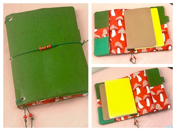 Refillable A5 cork notebook, vibrant green cork with whimsical red mushroom printed fabric inside!  Inserts included