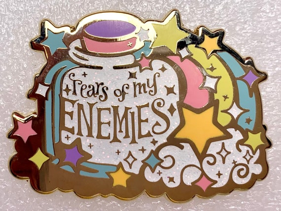 Tears of my Enemies bottle with rainbow, hard enamel pin of my original artwork! Sassy, salty, and sparkly!