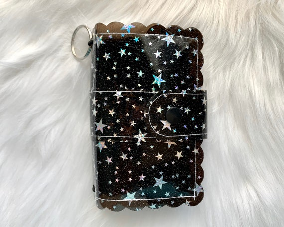 Take note!  Jet black jelly clip-on mini travelers notebook TN complete with handmade inserts. It's sparkly cuteness to go!