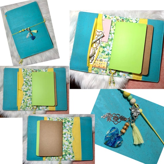 Charming A5 cork notebook, aqua and yellow with coordinating Hawaiian flower themed fabric, slip pockets, zipper pocket. Inserts included!
