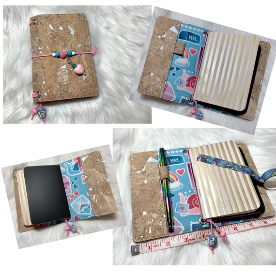 Natural cork notebook with silver accents and snail mail themed fabric. Whimsical and cute! Two blank notebooks included! One of a kind.