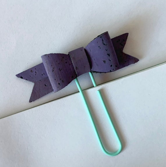 Cute cork fabric bow planner paperclip in purple. Planner charm, Bow charm
