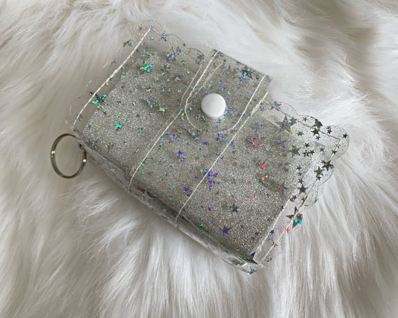 Take note!  Clear star jelly clip-on mini travelers notebook TN complete with handmade inserts. It's sparkly cuteness to go!