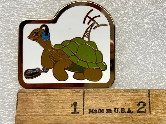 """Morse the Tortoise, hard enamel pin original character design.  1.5"""", great gift for ham radio operators!  Collect pins, collect art!"""