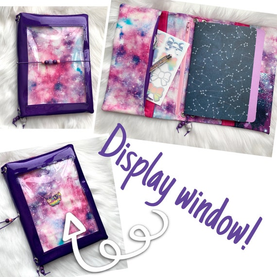 Sparkling purple vinyl pin window display notebook cover with nebula galaxy. Super shiny!  A5 size.  Inserts included!
