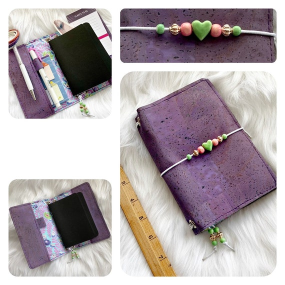 CLEARANCE Field notes size natural cork notebook in purple, happy and bright with floral theme.  Inserts included!