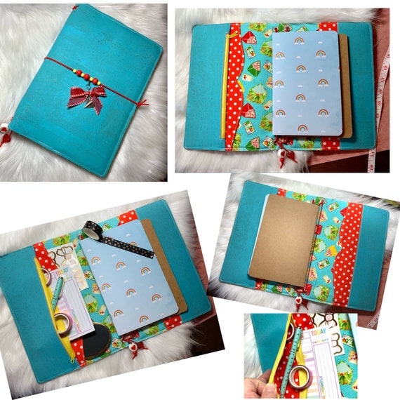 Charming A5 cork notebook, aqua and red with coordinating letter themed fabric, slip pockets, zipper pocket. Inserts included!