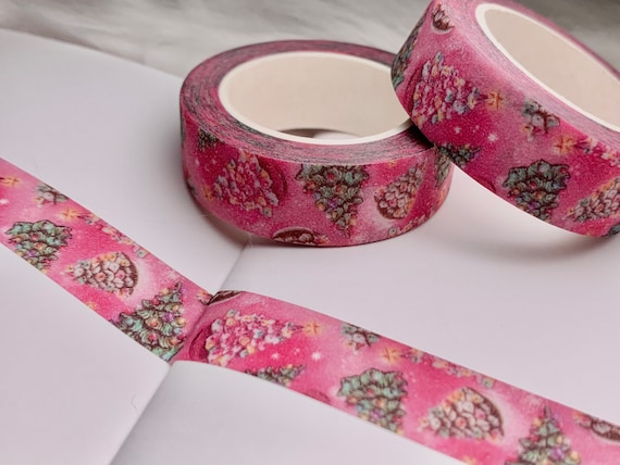 Original washi tape design Glitter and Pink Ceramic Christmas Tree washi tape in full color