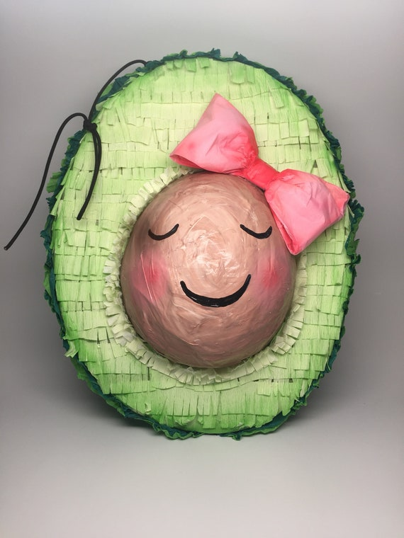 Cute Kawaii avocado piñata, handmade with love in paper mâché.  Let an artist-made piñata make a statement at your next party!