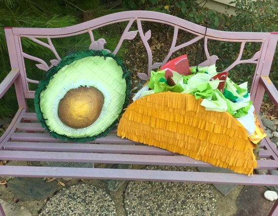 The perfect couple...realistic taco AND avocado piñata!  A pair of artist made piñatas will impress at your next fiesta!