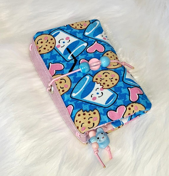 Kawaii cookies and milk mini TN/ traveler's style refillable notebook.  Artist made with love, inserts included!