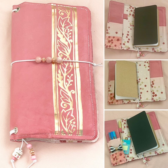 Refillable Standard traveler's notebook in pink sheep's leather and foil designs.  Coordinating blossom print inside, inserts included!