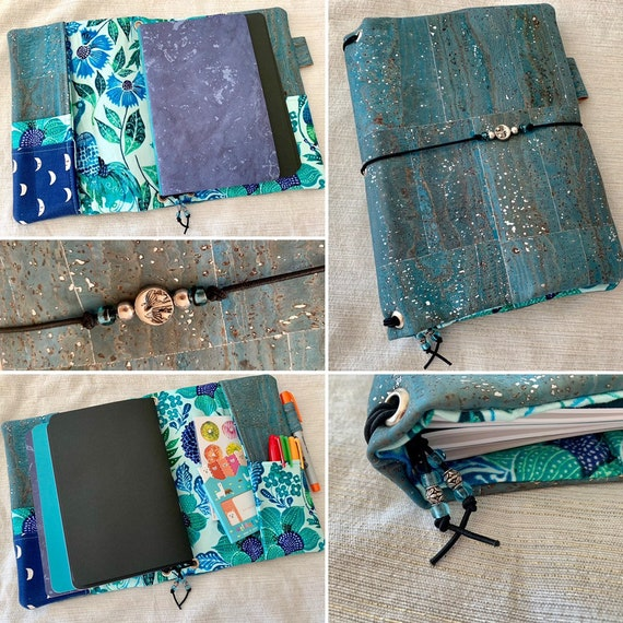 Refillable A5 cork notebook, blue color with silver flecks and pretty floral fabric accents and pockets.  Inserts included!