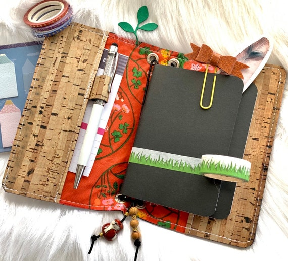 Field notes size TN natural cork traveler's notebook, autumn floral accents.  Artist made notebook, Inserts included!
