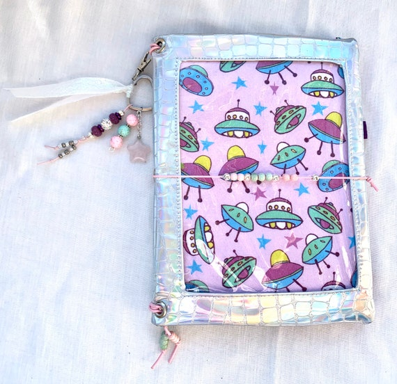 Sparkling iridescent vinyl pin window display notebook cover kawaii UFO alien. Super shiny!  A5 size. Handmade inserts and charm included