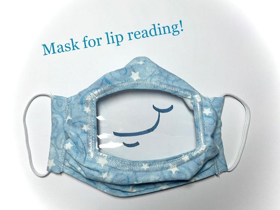 Lip reading cloth face mask with clear vinyl window. This pleated cotton face mask shows the mouth to help with communication.