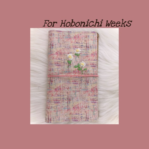 Natural cork notebook cover hand embroidered with daisies for your favorite weekly planner :-)