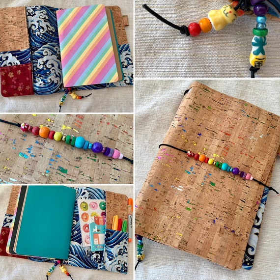 Refillable A5 cork notebook, rainbow sparkles in natural cork with a whimsical wave fabric accent and pockets.  Inserts included!