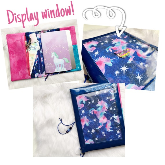 Sparkling blue vinyl pin window display notebook cover with unicorns. Super shiny!  A5 size.  Inserts included!