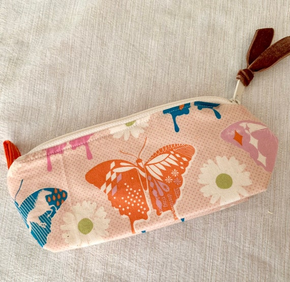 Boho butterfly pencil pouch zipper pouch.  A simple yet charming pouch perfect for gift giving or just keeping for yourself