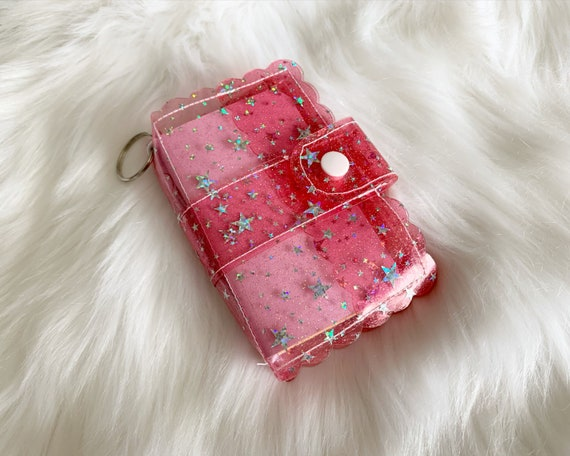 Take note!  Light red jelly clip-on mini travelers notebook TN complete with handmade inserts. It's sparkly cuteness to go!