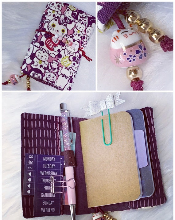 Lucky cat, maneki neko mini TN/ traveler's style refillable notebook, pink and purple.  Artist made with love, inserts included!
