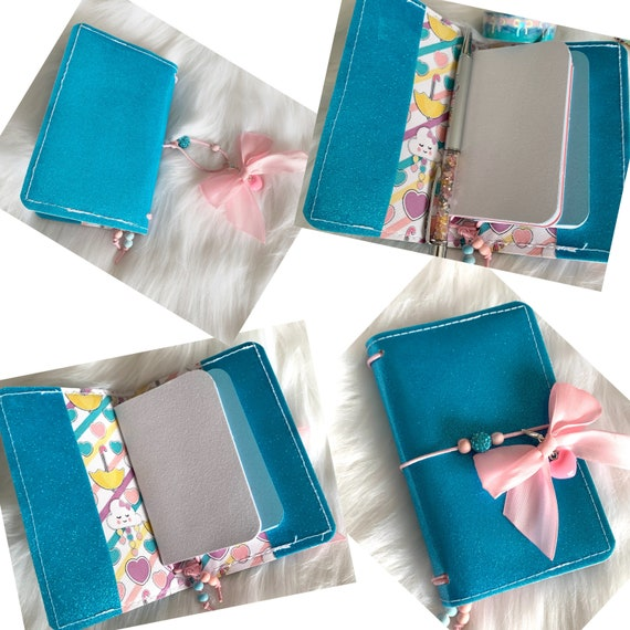 Miniature traveler's notebook in aqua glitter marine vinyl, handmade charm and inserts included!