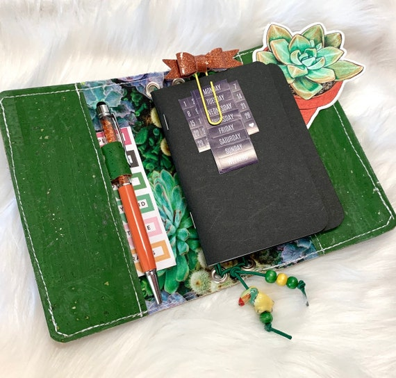 Field notes size natural cork TN traveler's notebook in bright green cork fabric succulent print lining. Inserts included!