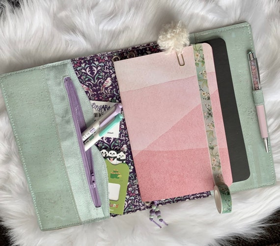 Refillable A5 cork notebook, pastel mint green cork with  pretty fabric accents and pockets.  Inserts included!