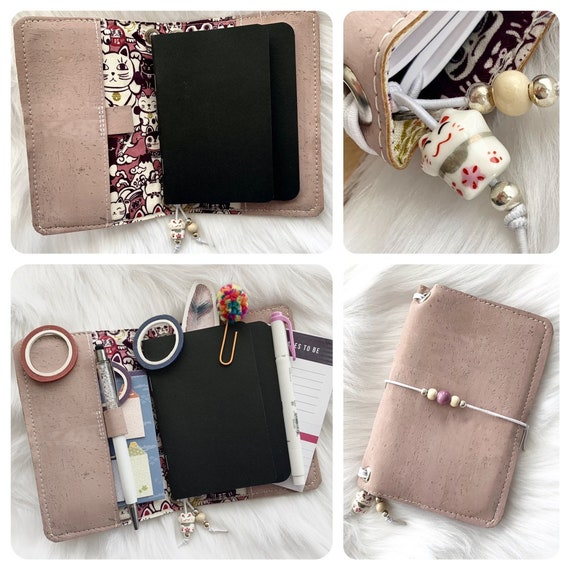 Field notes size TN natural cork notebook in a muted pink, lined with Kawaii Maneki neko Japanese lucky cat print fabric.  Inserts included!