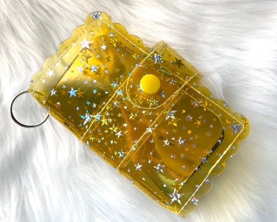 Take note!  Bright yellow jelly clip-on mini travelers notebook TN complete with handmade inserts. It's sparkly cuteness to go!