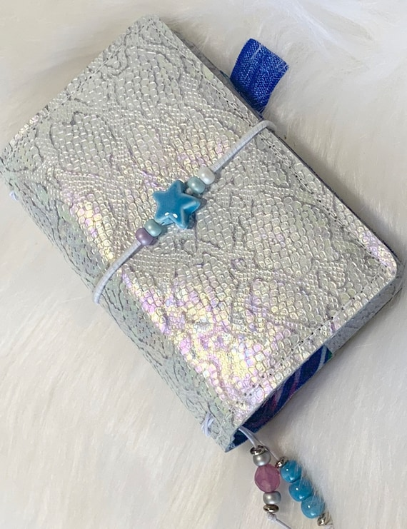 Irridescent mermaid leather mini TN/ traveler's style refillable notebook.  Artist made with love, inserts included!