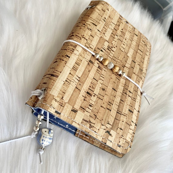 Field notes size TN natural cork traveler's notebook with blue star accents.  Artist made notebook, Inserts included!