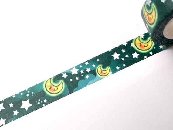 Original washi tape design, sleeping moon and stars, GREEN background