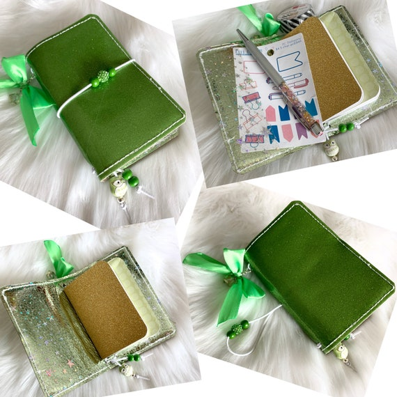 Miniature traveler's notebook in green glitter marine vinyl, handmade charm and inserts included!