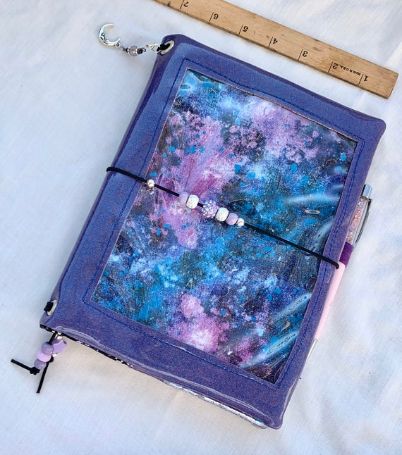Sparkling purple galaxy vinyl pin window display notebook cover.Super shiny!  A5 size. Handmade inserts and hanging charm included