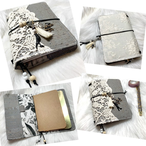 Botanical shabby chic field notes size natural cork notebook in grey with cotton lace. Two blank notebooks included! One of a kind.