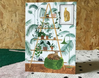 Henri Rousseau's Dream Botanical Cat Greeting Card