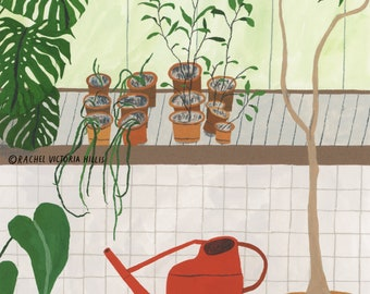 A4 Greenhouse Watering Time Barbican Illustration Giclee Print Houseplants Conservatory